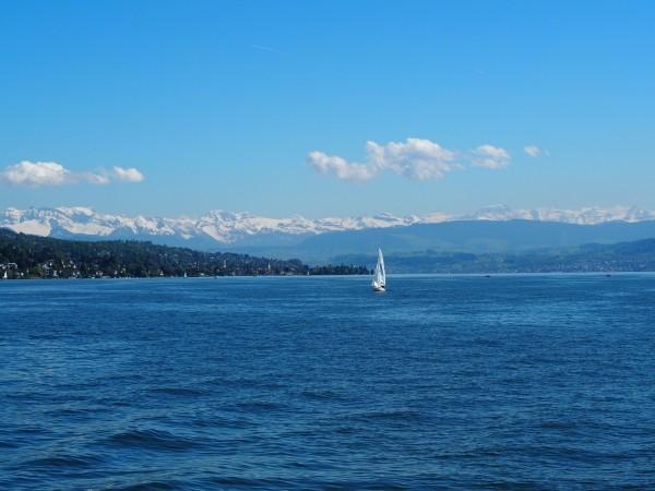 """Leinwandbild """"Zürichsee mit Segelboot"""""""